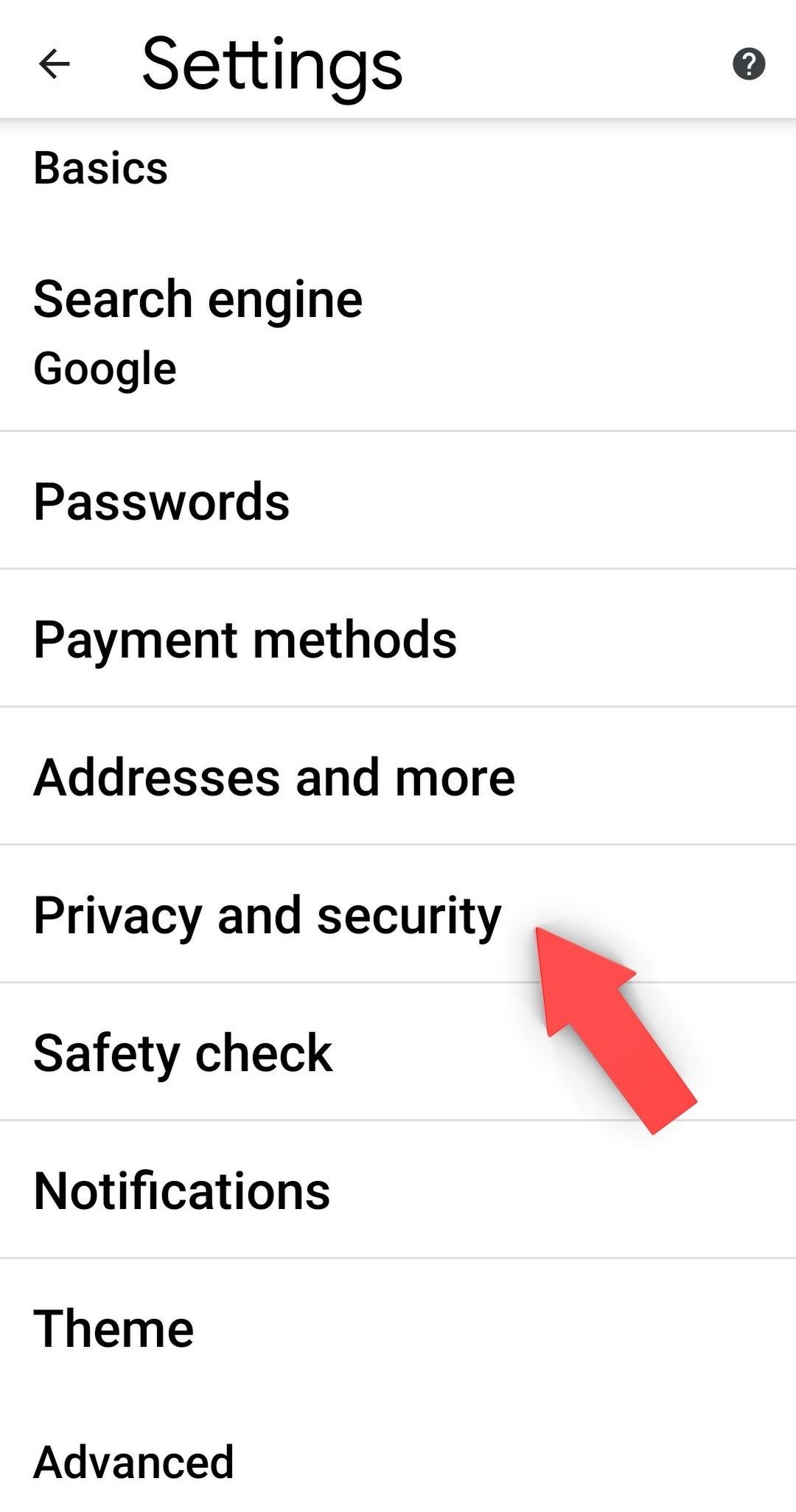 Step 4: Select Privacy and security.